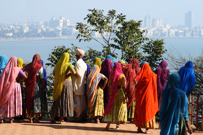 A group of indian women looking at the skyline of mumbai_shutterstock_32684389
