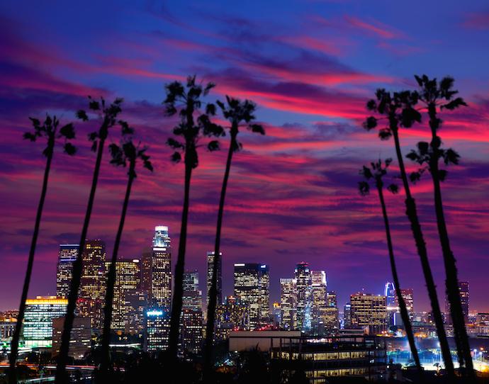 Downtown LA night Los Angeles sunset colorful skyline California_shutterstock_155452709