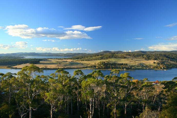 Landscape of Tasmania overlooking Tamar River.shutterstock_1371335