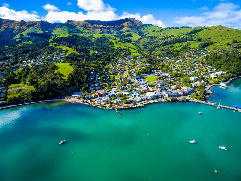 Feng Shui view of Akaroa, South Island New Zealand