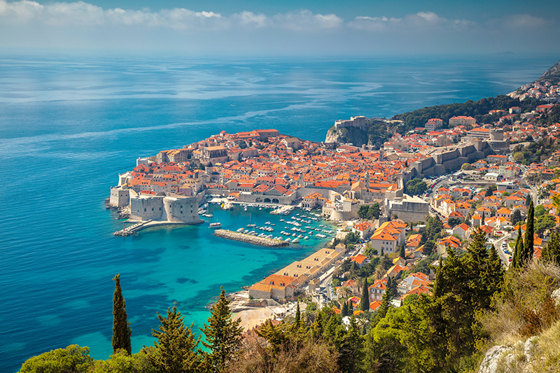 View of Dubrovnik town and coastline