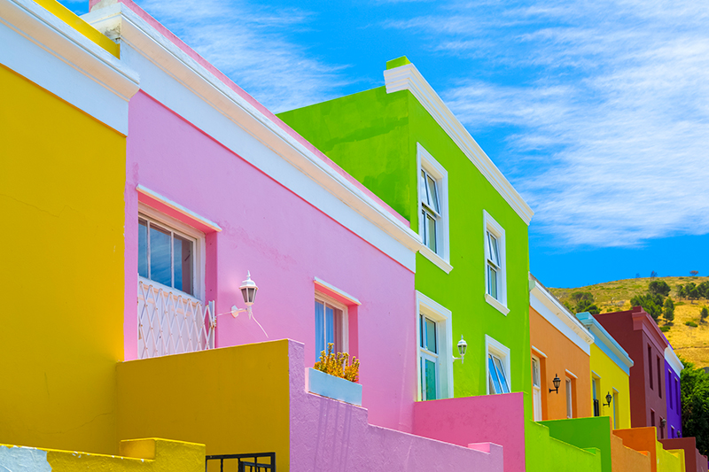 Colourful houses in Cape Town, South Africa