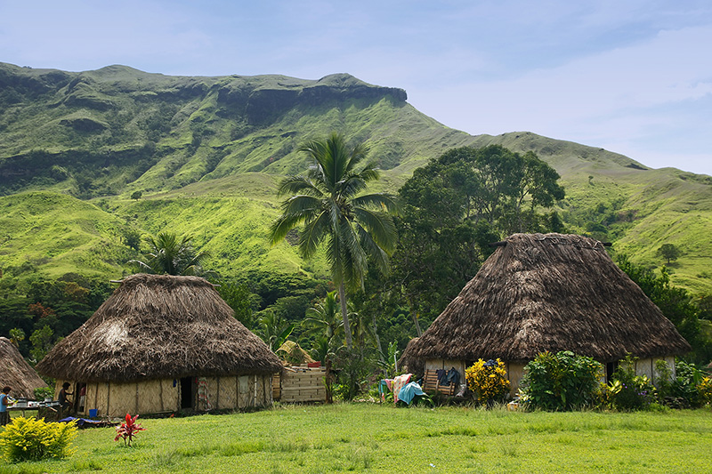 View of traditional bure houses at eco-tourist destination Navala village, Viti Levu island, Fiji