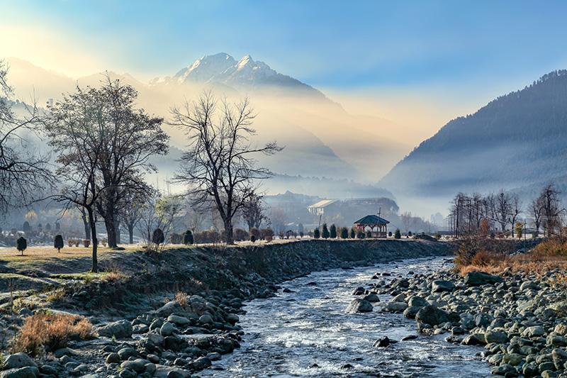 Water stream flowing through Himalaya Mountains in eco-travel destination Pahalgam, Jammu and Kashmir, India