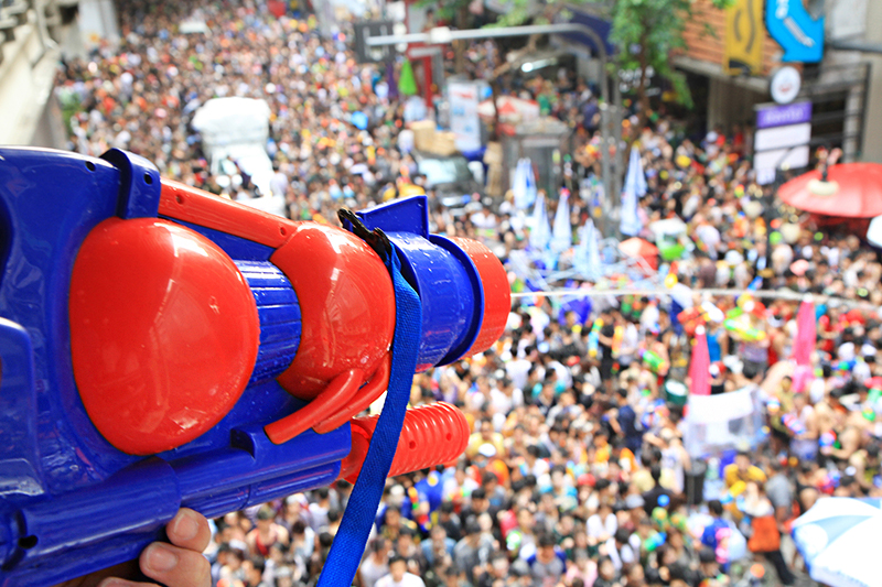 Water fight - Songkran festival Bangkok, Thailand