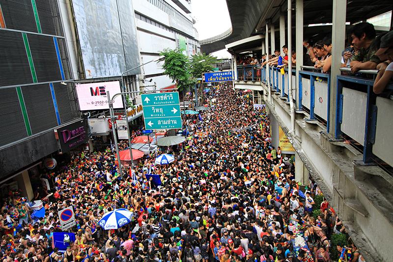 Crowds on Khao San Road during Songkran festival - Bangkok, Thailand