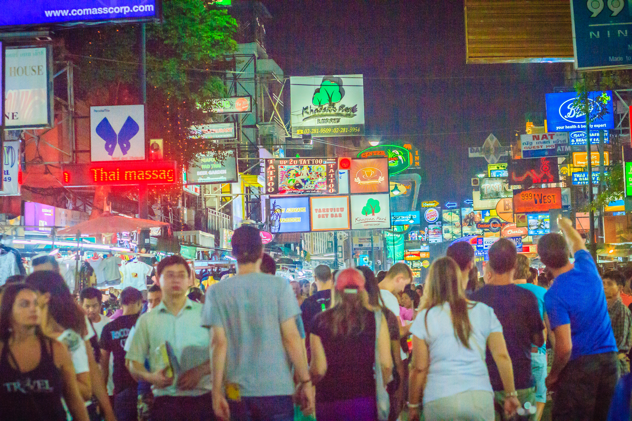 Bangkok night street view
