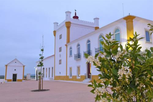 White-washed architecture of Torre de Palma Wine Hotel, Alentejo Portugal