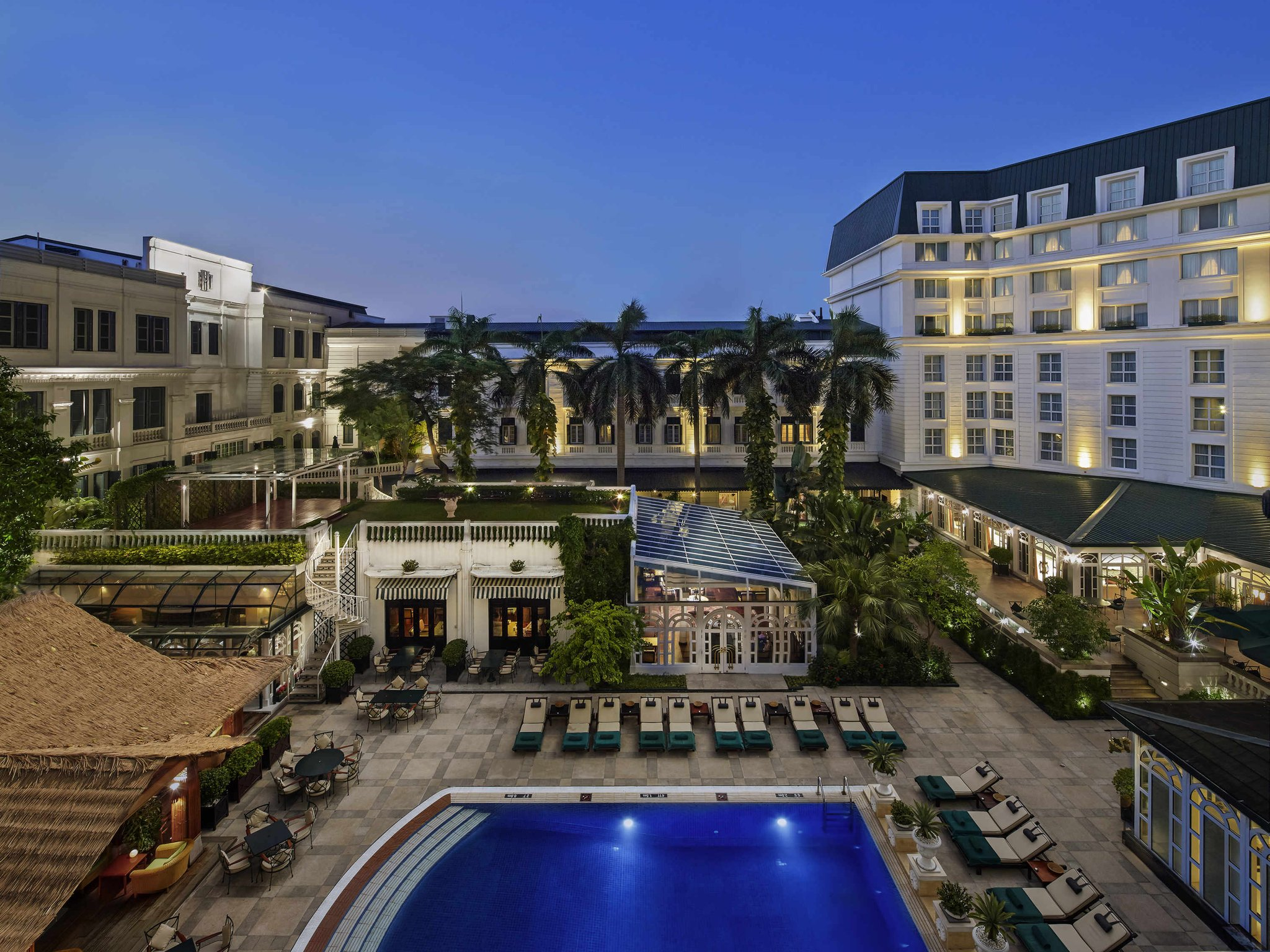 Swimming pool view of hotel Sofitel Legend Metropole, Hanoi Vietnam