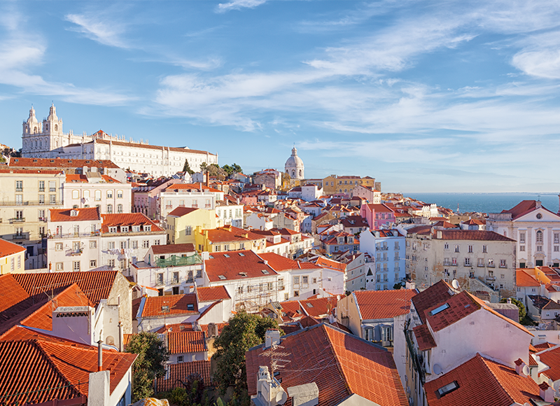 A city view of Lisbon in summer