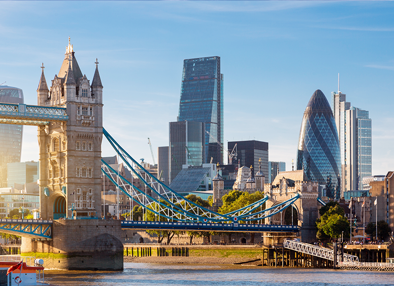 A view of Tower Bridge in summer