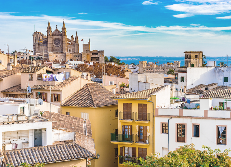 A marvellous view of Palma Cathedral from the city