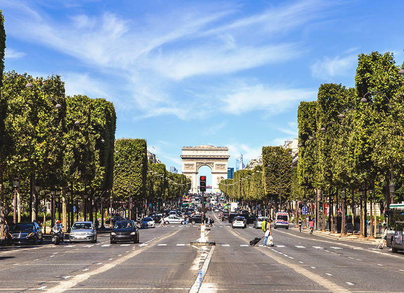 A summer view of Arc de Triomphe in Paris