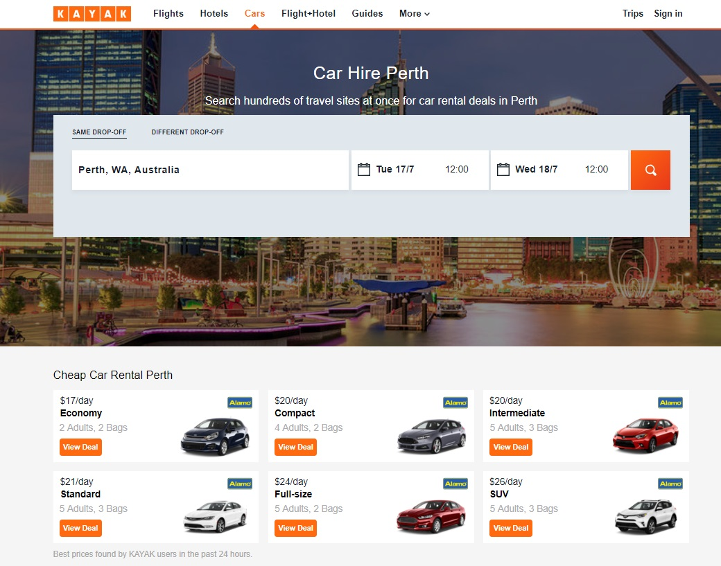 Hire a car in Perth on KAYAK