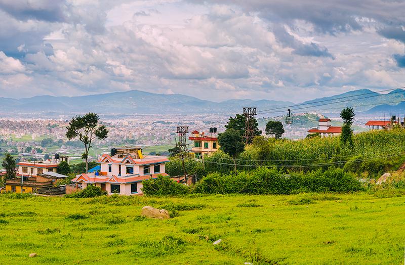Verdant valley in Kathmandu, Nepal