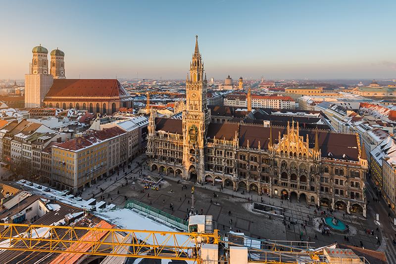 Frauenkirche aerial view, Munich, Germany