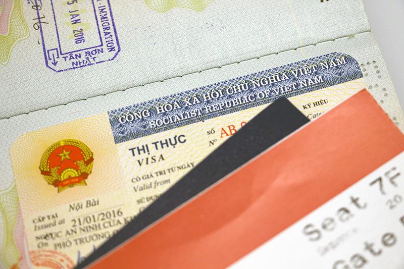Travel with kids: Vietnamese visa sticker in a passport.