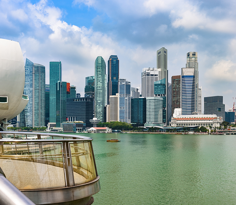 Panoramic cityscape of Singapore Marina Bay and Merlion Park