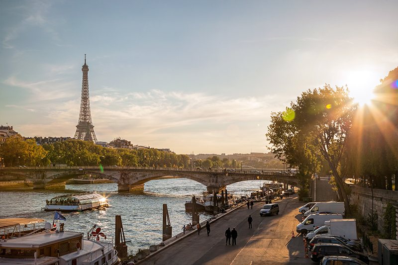 Romantic view of the Seine and Eiffel Tower, Paris - film location of Before Sunset