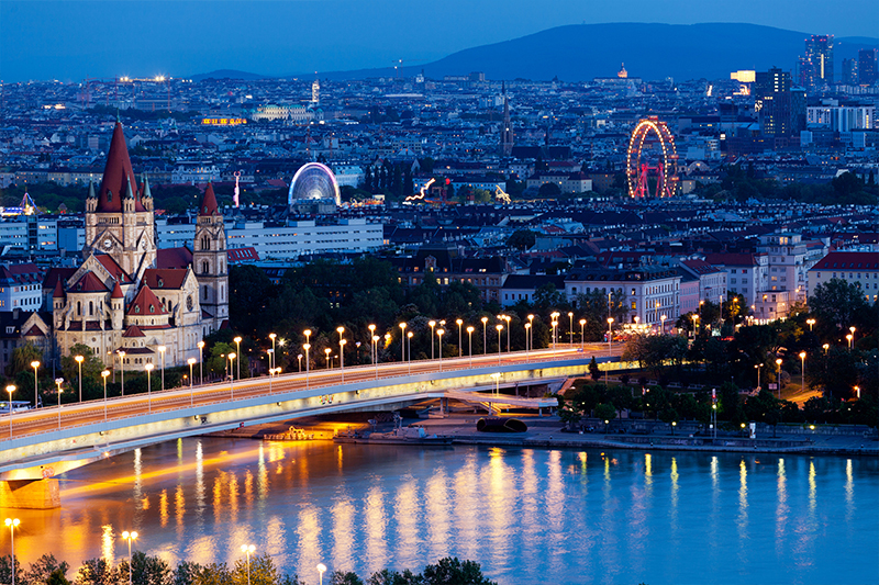 Romantic view of Vienna cityscape at night