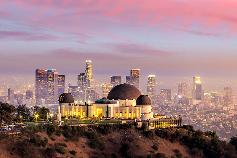 Romantic view of the LA Observatory at sunset