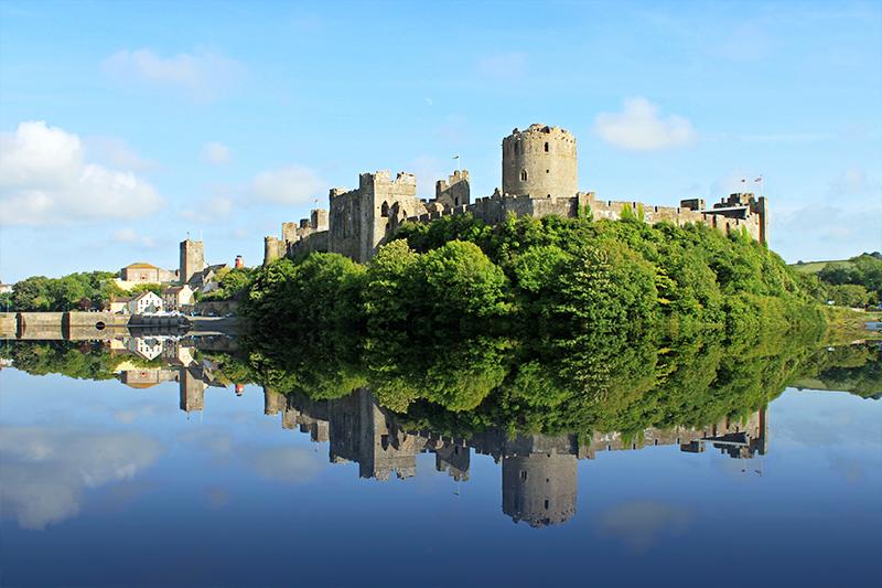 view of romantic film location Pembroke Castle, Pembroke, Wales