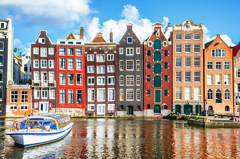 view of romantic film location - canals of Amsterdam, as seen in The Fault in our Stars