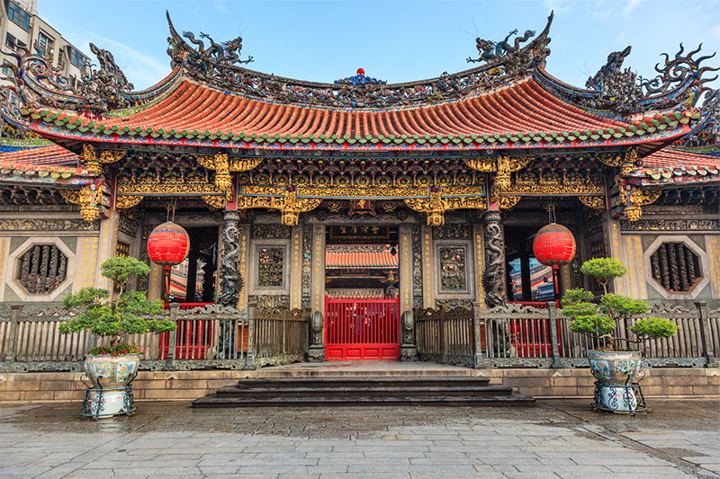 Colourful roof and decorations at Longshan Temple, Taipei, Taiwan